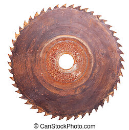 Circular saw - Old rusty circular Saw, isolated on white
