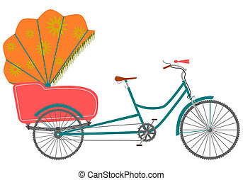 Rickshaw. - Bicycle rickshaw on a white background.