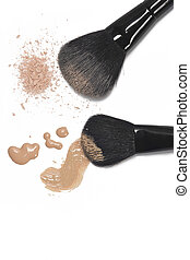 Foundation and powder with brushes - Poured foundation and...