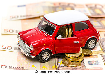 Car leasing concept represented by a mini red car with a...
