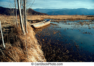 China Yunnan Lugu Lake scenery in winter