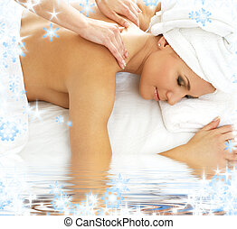 massage - picture of lovely lady relaxing in massage salon