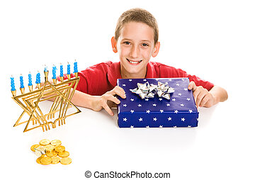 Happy Boy on Hanukkah - Happy little boy excited about...