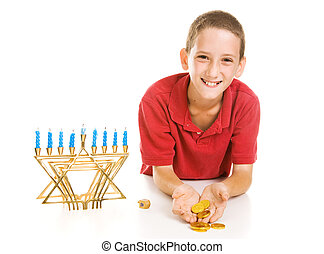 Hanukkah Boy Holding Gelt - Happy little boy holding...