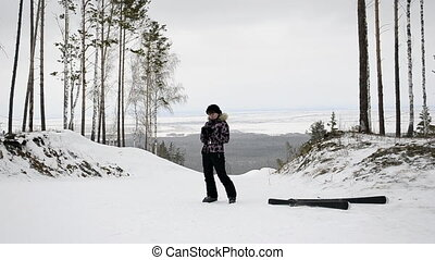 Skier photographs in the winter