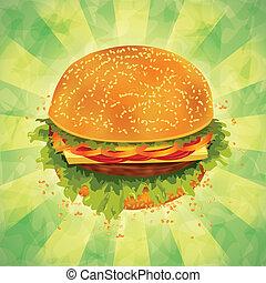 Tasty hamburger on grunge background - Tasty hamburger with...
