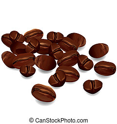 Coffee beans isolated on white background - Coffee beans...