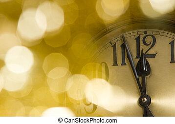nowy, rok, zegar