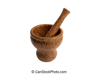 Wooden mortar and pestle with path - Coconut tree mortar and...