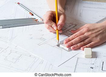 kéz, rajz, részletek, belső