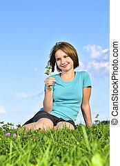 girl, herbe, jeune, séance