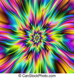 Psychedelic Supernova - Digital abstract fractal image with...