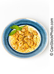 Shrimp Scampi Pasta - A plate of fresh shrimp farfalle pasta