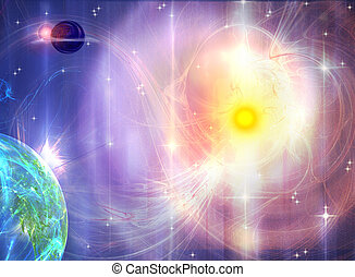 Sunburst Galaxy - Illustration of galaxy with sun burst
