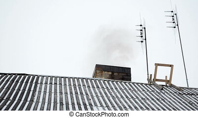 roof chimney smoke snow