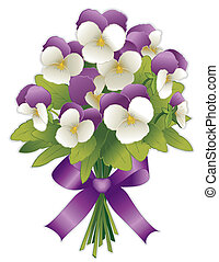 Johnny Jump Ups, Flower Bouquet - Spring flower bouquet,...