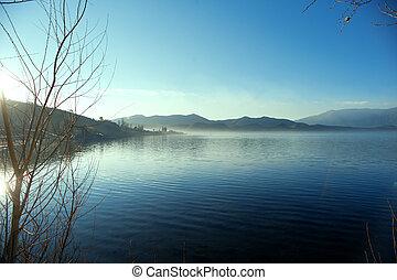 The China Yunnan morning Lugu Lake