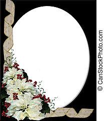Christmas White Poinsettia Frame on