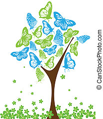 Blue and green butterflies on tree