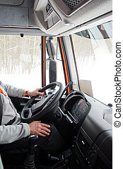 truck cab - interior of a truck cab