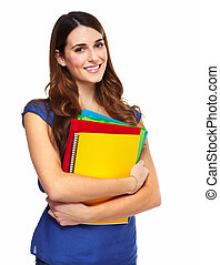 jovem, mulher, estudante, livro