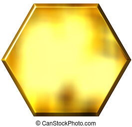 3D Golden Hexagon - 3d golden hexagon isolated in white