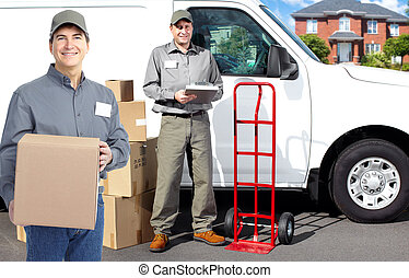 Delivery postman - Group of professional post workers...