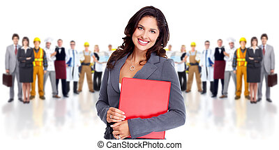 Business woman and group of workers people. Isolated over...