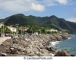 coastal scenery at Guadeloupe - idyllic coastal scenery on a...