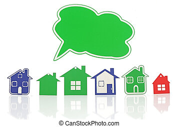 model house symbol set with blank bubble speech isolated on...
