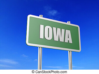 Iowa - Rendered artwork with blue sky as background