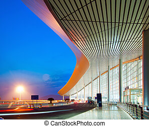 Modern architecture at night, China Shanghai pudong airport...