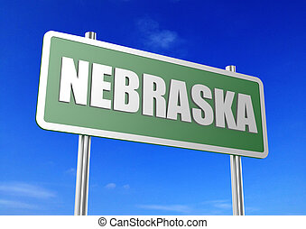 Nebraska - Rendered artwork with blue sky as background