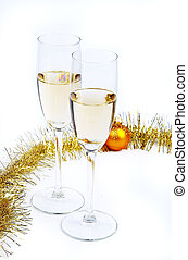 Christmas sketches 4 - Two wine glasses with champagne and a...