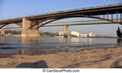 Beach under the bridge in Novosibirsk