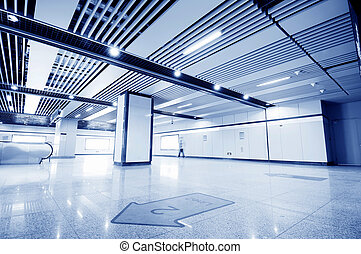 The subway, lonely pedestrian - Subway station long...