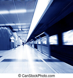 Subway station the crowd - abstract zooming passengers in...