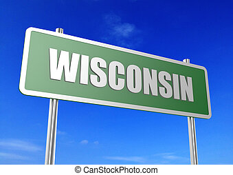 Wisconsin - Rendered artwork with blue sky as background