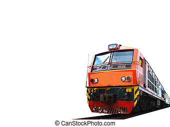 Vintage train n white background