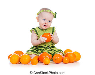 happy baby  girl with fruits isolated on white