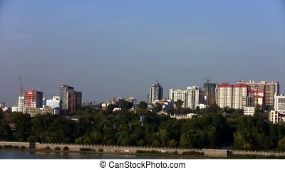 Time lapse View of Novosibirsk, the right bank of the Ob...