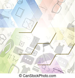 Abstract background with shopping icons