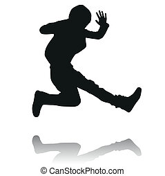 Silhouette of kids - Silhouette of jumping boy