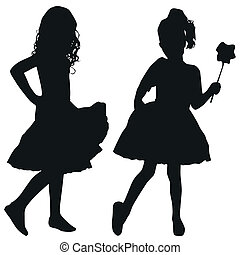 Silhouettes of kids - Silhouettes of two girls