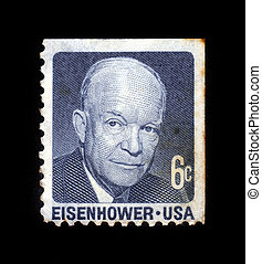 Dwight David Ike Eisenhower - USA-CIRCA 1970:A stamp printed...