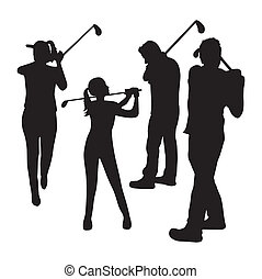 golfers - three golfers over white background. vector...