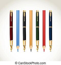 Set pens and pencils. Vector
