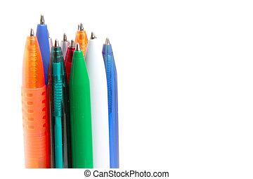 varicoloured several pens for write letter documents