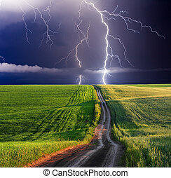 lightning - summer storm beginning with lightning