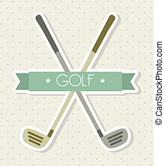 golf clubs over beige background. vector illutration